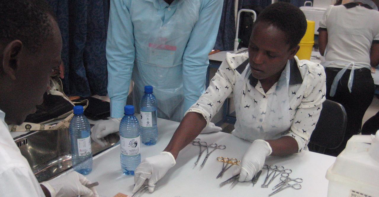 Nurses practice suture skills, Blantyre, Malawi
